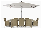 Stanway Teak 8 Seater & Cadiz carver set with Parasol
