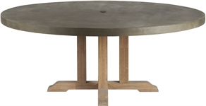 Hove 180 Round Table - Concrete & Teak