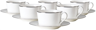 Fenton Tea Cups & Saucers, set of 6, Platinum