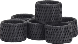 Ashcroft Round Napkin Rings, Charcoal, Set of 6