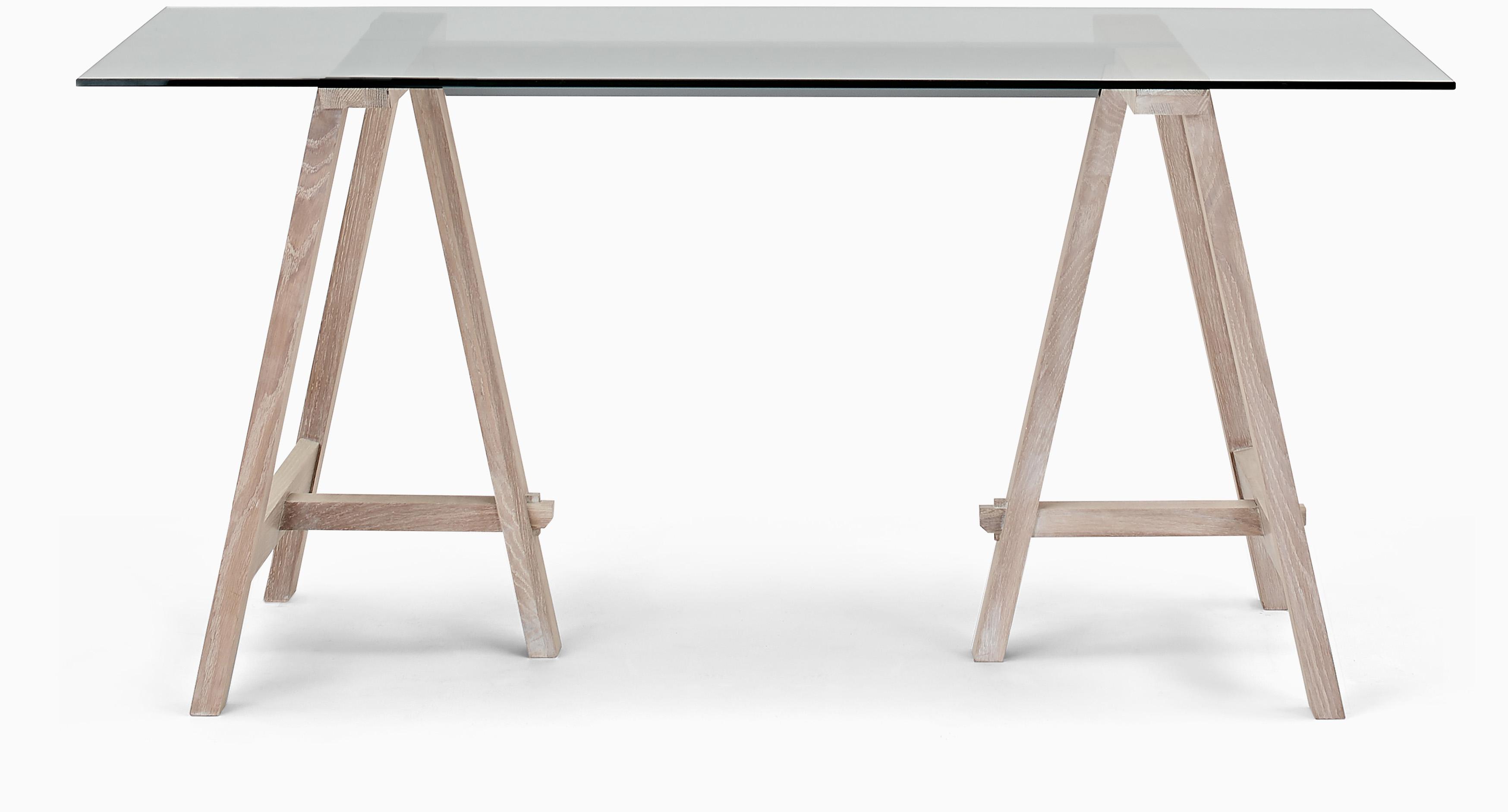 Hebden Dining Table, Glass Top & Oak Legs