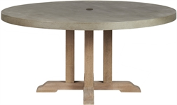 Hove 150 Round Table - Concrete & Teak