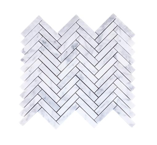 Kennet Carrara Marble Herringbone Tiles