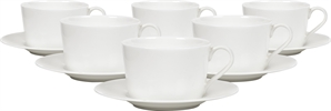 Fenton Tea Cup & Saucers, set of 6, White