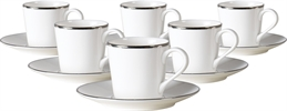 Fenton Espresso Cups & Saucers, set of 6, Platinum
