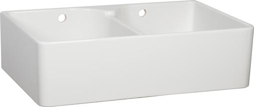 White Ceramic Double Bowl Kitchen Sink: Neptune Double Bowl Ceramic Belfast Sink